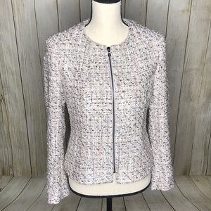 Anne Klein Tweed Zip Front Jacket Palladium Blazer